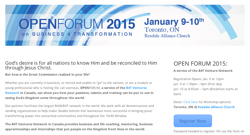 Event: Open Forum Toronto Jan 2015